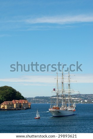 Leaving Bergen on cruise to Oslo - stock photo