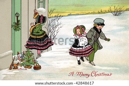 Leaving Christmas gifts on the doorstep of a home on Christmas Eve s- a 1912 Vintage Greeting Card Illustration - stock photo