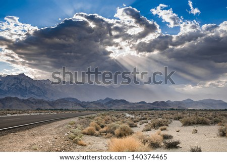 Leaving Death Valley, California - stock photo