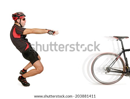 Leaving the bicycle isolated on white background - stock photo