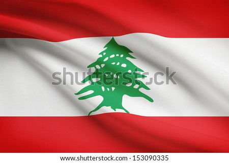 Lebanese flag blowing in the wind. Part of a series.