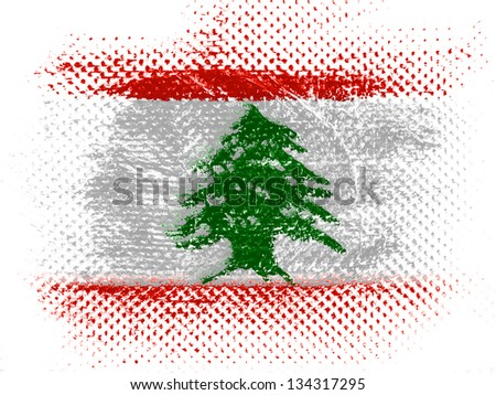 Lebanese flag on dotted surface - stock photo