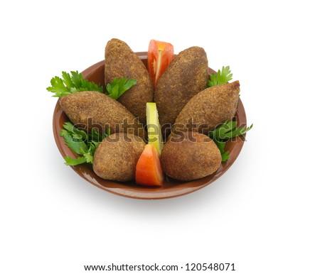 Lebanese Food of Fried Kibe Isolated on white - stock photo