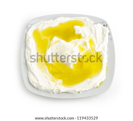 Lebanese food of Labneh Yogurt cheese - stock photo