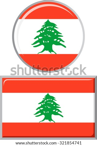 Lebanese round and square icon flag. Raster version.