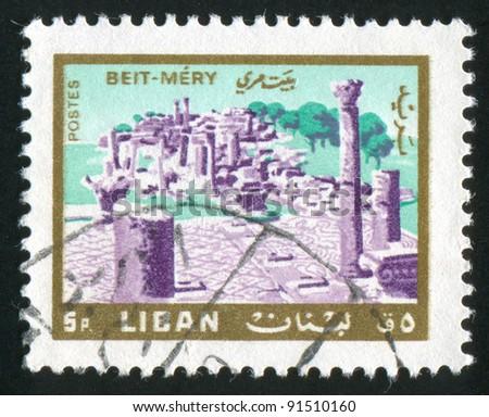 LEBANON - CIRCA 1966: A stamp printed by Lebanon, shows Ruins, Beit-Mery, circa 1966 - stock photo