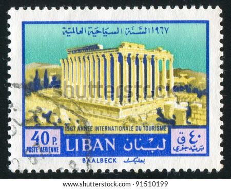 LEBANON - CIRCA 1967: A stamp printed by Lebanon, shows Temple of Bacchus, Baalbek, circa 1967 - stock photo