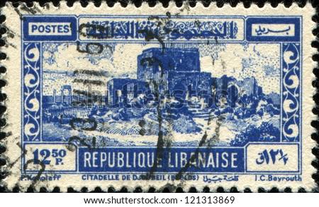 LEBANON - CIRCA 1945: A stamp printed in Lebanon shows Crusader Castle, Byblos, circa 1945 - stock photo