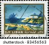 LEBANON - CIRCA 1966: A stamp printed in Lebanon shows Tabarja view, circa 1966 - stock photo