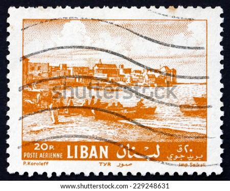LEBANON - CIRCA 1961: a stamp printed in the Lebanon shows Beach at Tyre, circa 1961 - stock photo