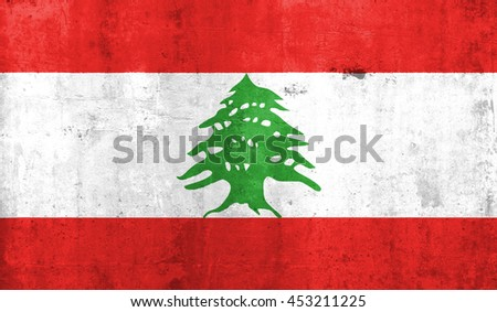 Lebanon country flag with grunge wall texture background.