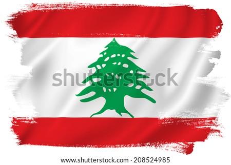 Lebanon flag backdrop background texture. - stock photo