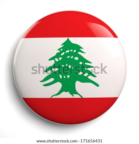 Lebanon flag icon. Clipping path included.