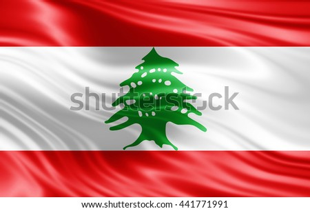 Lebanon  flag of silk-3D illustration
