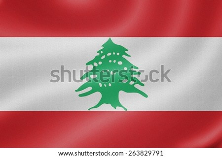 Lebanon flag on the fabric texture background