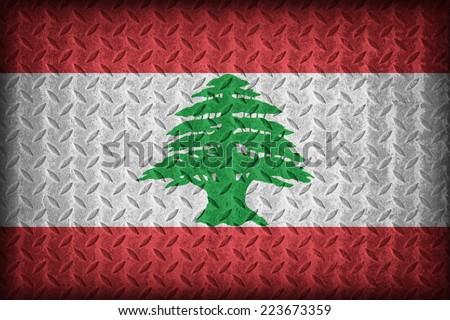 Lebanon flag pattern on the diamond metal plate texture ,vintage style - stock photo