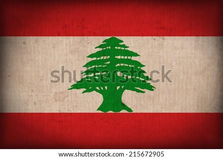 Lebanon flag pattern on the fabric texture ,retro vintage style - stock photo