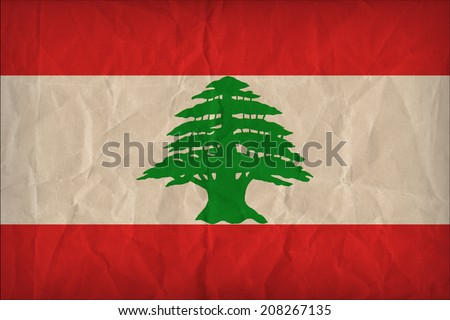 Lebanon flag pattern on the paper texture ,retro vintage style