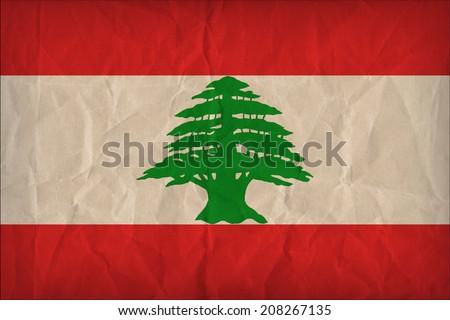 Lebanon flag pattern on the paper texture ,retro vintage style - stock photo