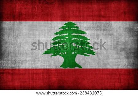 Lebanon flag pattern ,retro vintage style - stock photo
