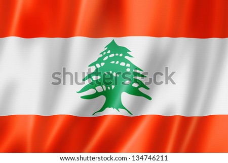 Lebanon flag, three dimensional render, satin texture