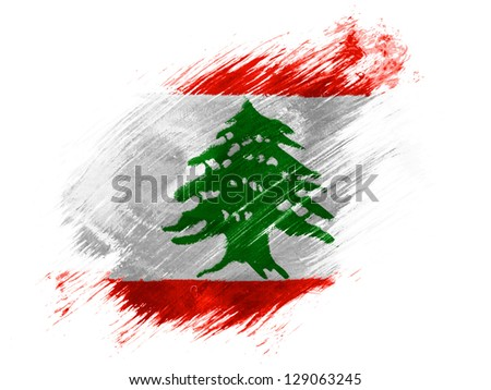 Lebanon. Lebanese flag  painted with brush on white background - stock photo