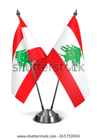 Lebanon - Miniature Flags Isolated on White Background. - stock photo