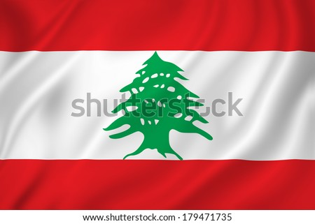 Lebanon national flag background texture.