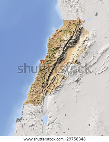 Lebanon. Shaded relief map. Surrounding territory greyed out. Colored according to vegetation. Includes clip path for the state area.