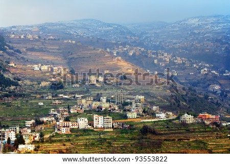 Lebanon villages high up in the mountains of Lebanon - stock photo