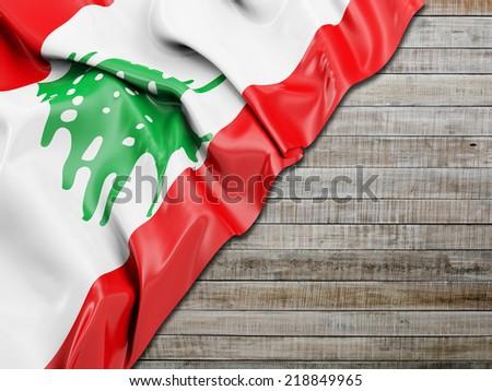 Lebanon Wavy Flag with horizontal wood - stock photo