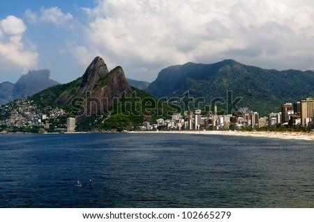 Leblon and the Mountain Dois Irmao in Rio de Janeiro - stock photo