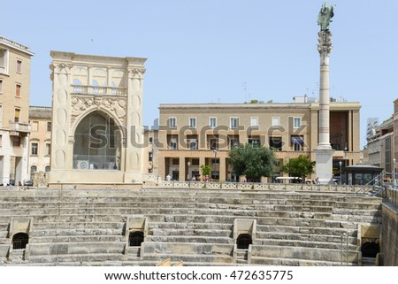 Lecce, Italy - 23 June 2016: The iconic roman amphitheatre in Sant'Oronzo square, one of the most visited spots in Lecce on Puglia, Italy