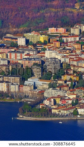 Lecco between Lake and Mountain                    - stock photo