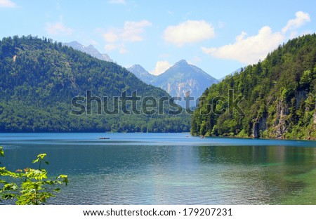Lech River at Hohenschwangau in Bavaria, Germany, - stock photo