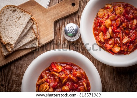 Lecho - Delicious Hungarian dish in bowl. - stock photo