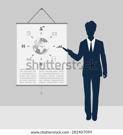 Lector stand near board presentation showing speak project brief - raster - stock photo