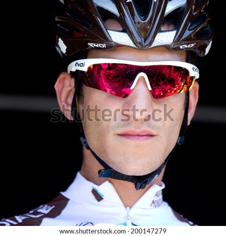 LECTOURE, FRANCE - JUNE 20  Portrait of the french climber Blel Kadri at the departure of the first stage of the Route du Sud, on June 20, 2014 in Lectoure, France.   - stock photo