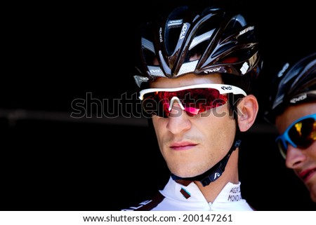 LECTOURE, FRANCE - JUNE 20  Portrait of the french cyclist Blel Kadri at the departure of the first stage of the Route du Sud, on June 20, 2014 in Lectoure, France.   - stock photo