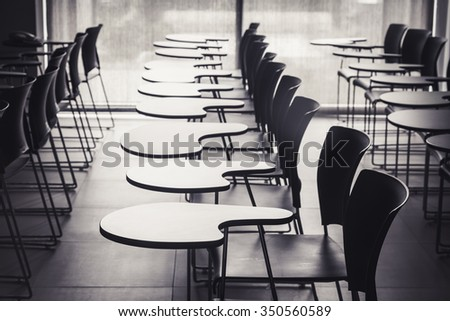 Lecture room with empty seats Business seminar education - stock photo