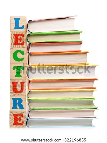 Lecture word formed by wood alphabet blocks on white background  - stock photo