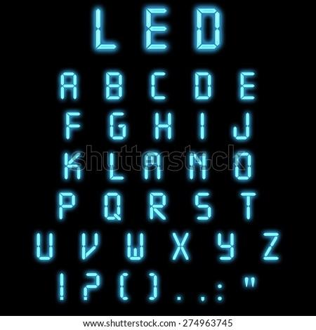 Led alphabet blue on a black background - stock photo