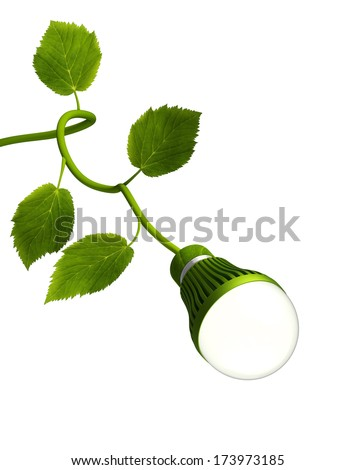 Led Bulb with Green Stem - Green Energy concept - stock photo