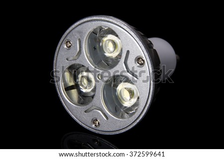 LED bulb with 3 lenses and large diodes - stock photo