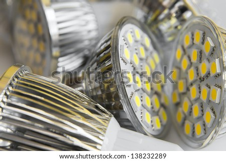led bulbs GU10 with 3-chip SMD warm white and cool white - stock photo