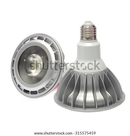 LED bulbs on a white background. - stock photo