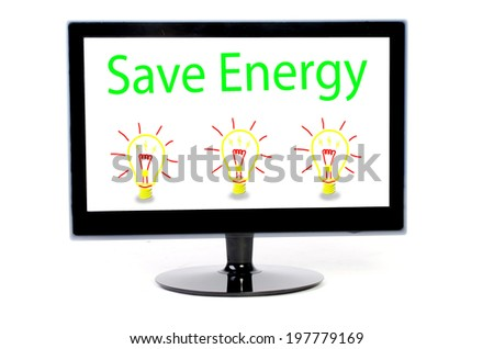LED Computer monitor with energy concept  isolated on white - stock photo