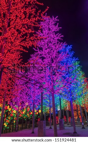 LED Decoration Festival. Concept of energy saving and cool light - stock photo