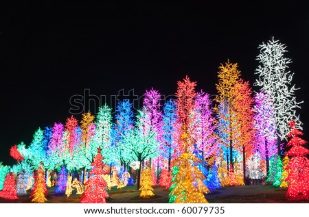 LED Decoration Festival. Concept of energy saving and cool lighting decoration. - stock photo