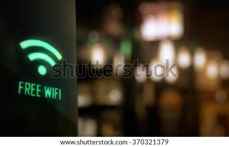 LED Display - Free wifi signage - stock photo